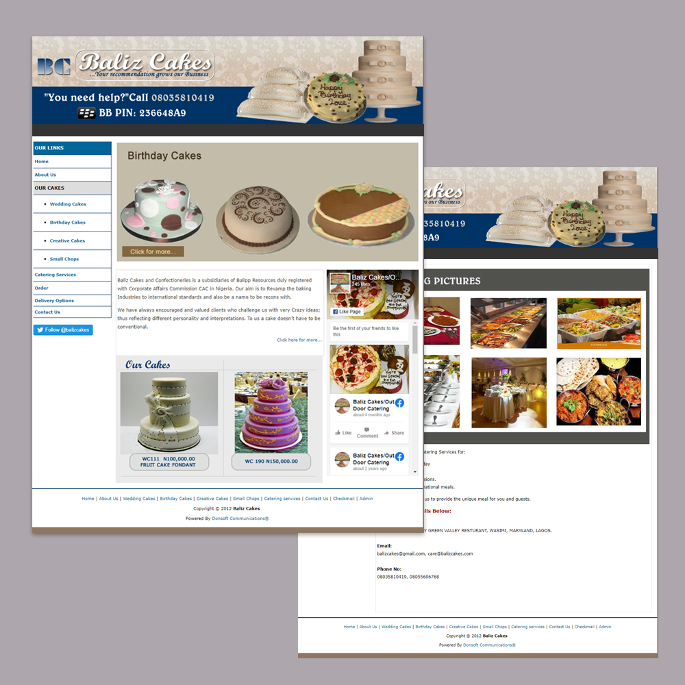 Website Design for Balizcakes